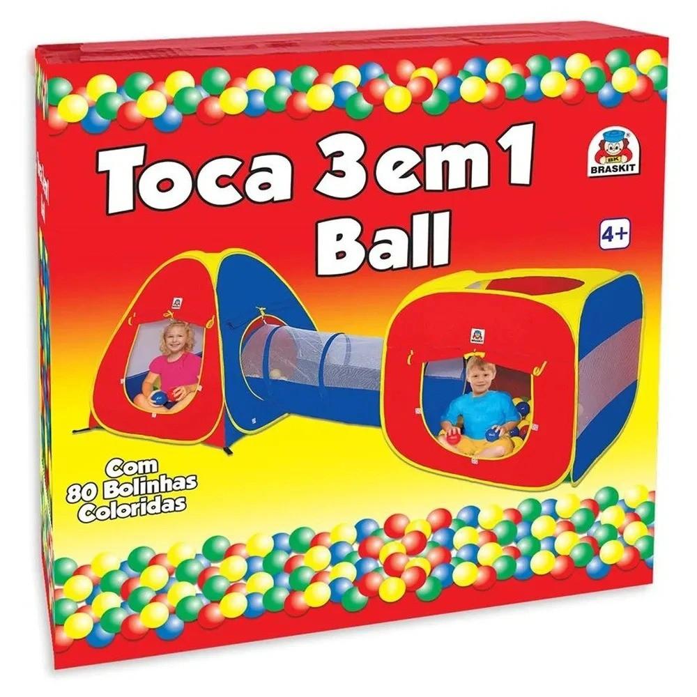 Barraca Toca Infantil com Tunel Ball - 3 Em 1 C/80 Bolinhas - Braskit