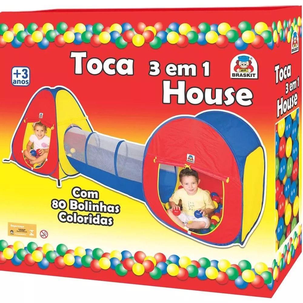 Barraca Toca Infantil com Tunel House 3 Em 1 C/80 Bolinhas - Braskit