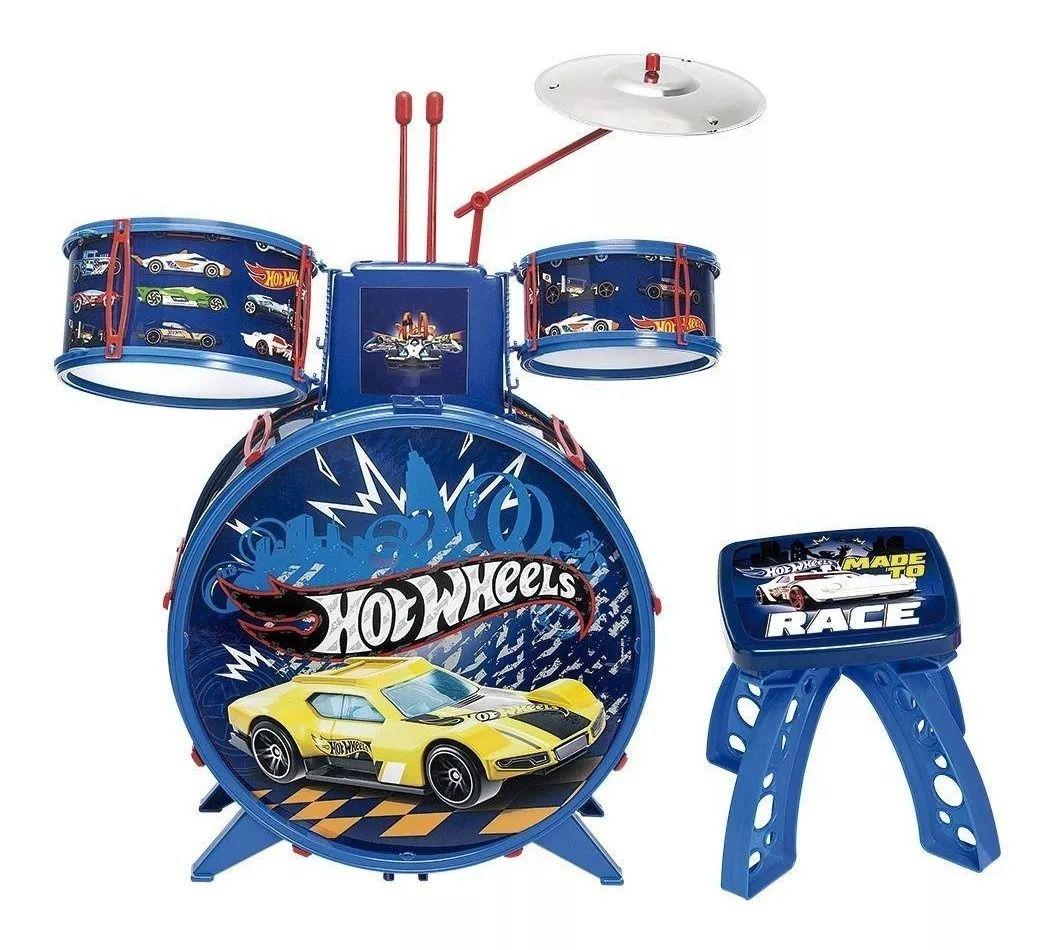 Bateria Radical Hot Wheels Com Baquetas, banco e Bumbo com pedal - Fun