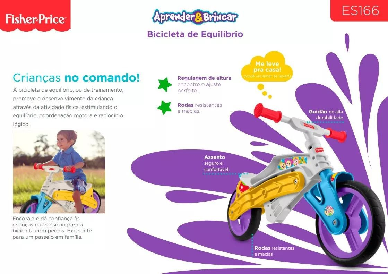 Bicicleta De Equilibrio Infantil – Aprender e Brincar -Fisher-price  - Doce Diversão