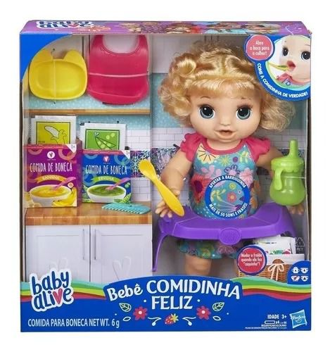 Boneca Baby Alive - Bebê Faminta Loira – Comidinha Feliz Fala Portugues- Hasbro