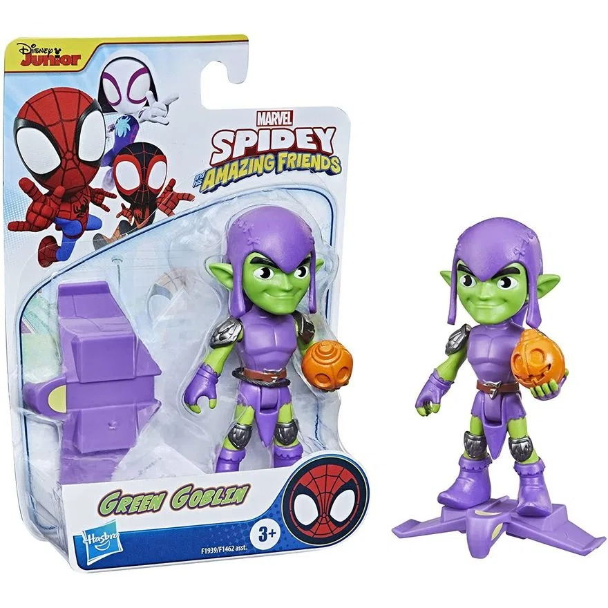 Boneco Spider Man Spidey Amazing Friends  - Duende Verde Articulado C/Acessorio - Hasbro