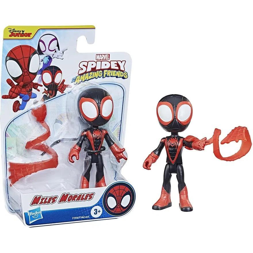 Boneco Spider Man Spidey Amazing Friends  - Miles Morales Articulado C/Acessorio - Hasbro