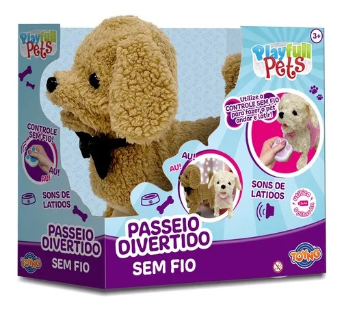 Cachorrinho Bege Play Full Pets C/ Controle Remoto Sem Fio  - 25 cm ,Anda e Late - Toyng