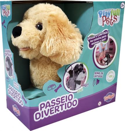 Cachorrinho Bege Play Full Pets Coleira Com Controle C/som e movimento - Anda e late - Toyng