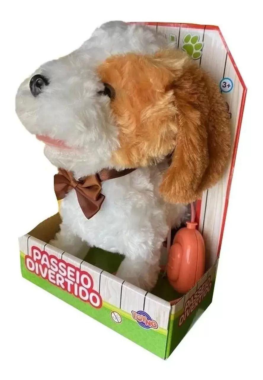 Cachorrinho Branco/Bege Play Full Pets Coleira Com Controle - Anda e Late- Toyng
