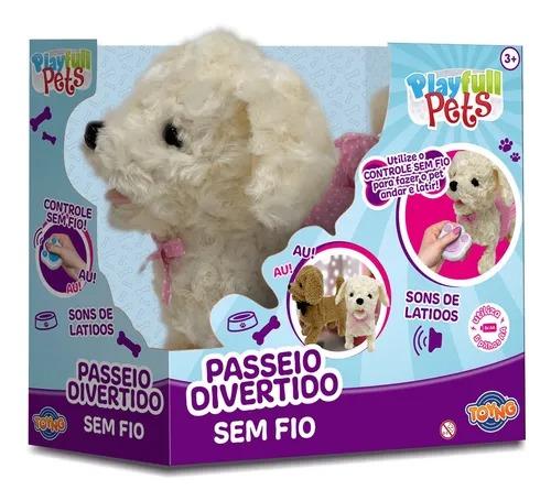 Cachorrinho Branco Play Full Pets C/ Controle Remoto Sem Fio  - 25 cm ,Anda e Late - Toyng