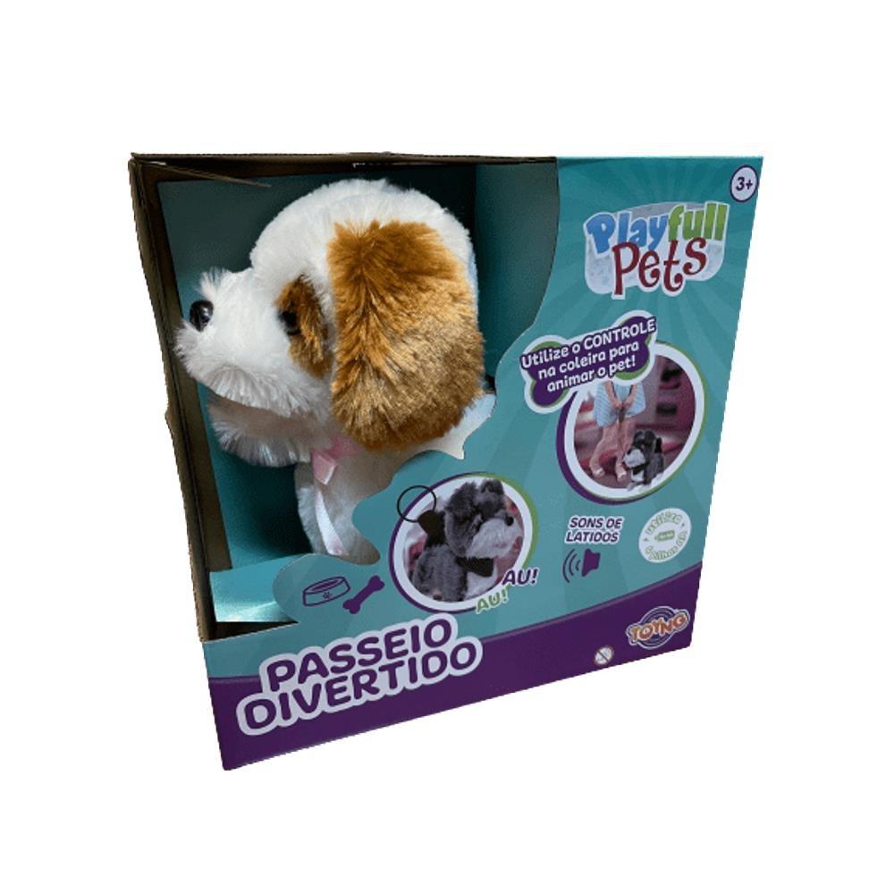 Cachorrinho Branco Play Full Pets Coleira Com Controle C/som e movimento - Anda e late - Toyng