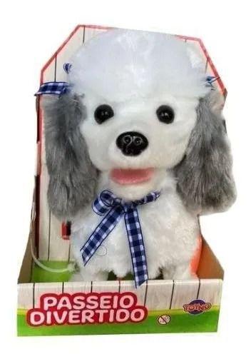 Cachorrinho Branco/Cinza Play Full Pets Coleira Com Controle - Anda e Late- Toyng