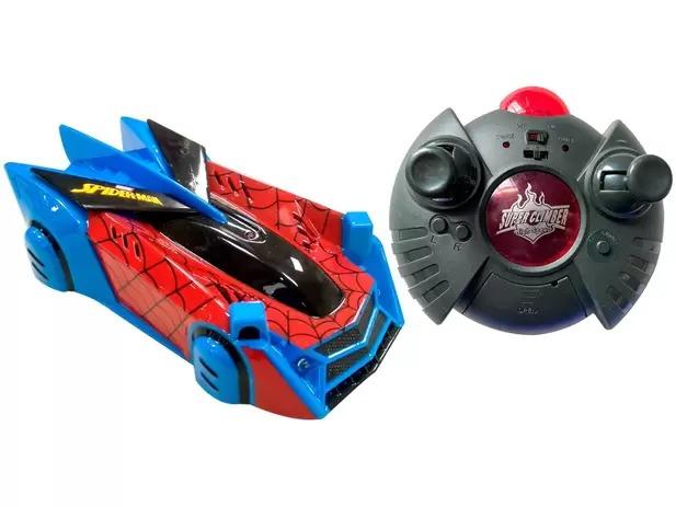 Carrinho de Controle Spider-Man – Web Climber 7 Funções – Anda chão, Paredes e Teto - Candide