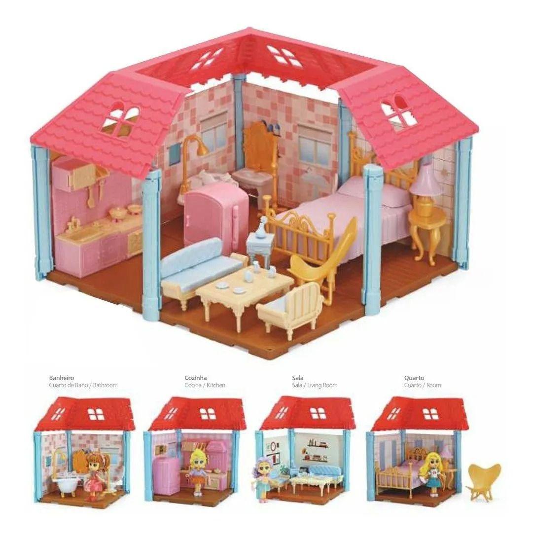 Casa Encantada Surprise Completa Com 4 ambientes 4 bonecas e Moveis - Xplast