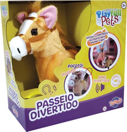 Cavalinho Bege Play Full Pets Coleira Com Controle - Com Sons e Anda  - Toyng