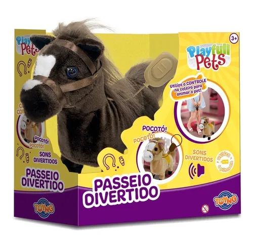 Cavalinho Marrom Play Full Pets Coleira Com Controle - Com Sons e Anda  - Toyng
