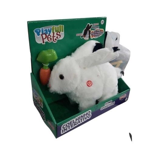 Coelhinho Branco Interativo com Cenoura - Playfull Pets  - Som, anda e Mexe Orelhas  Toyng