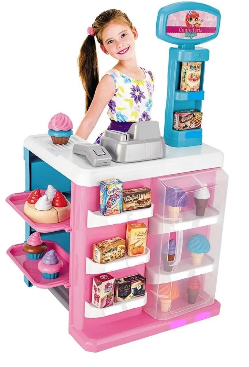 Confeitaria Mágica Mercadinho Infantil C/ 24 acessorios e Leitor C/Luz e Som - Magic Toys
