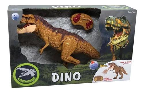 Dinossauro T-Rex Controle Remoto C/Som e Luz 47 cm - Reage ao Toque - Candide