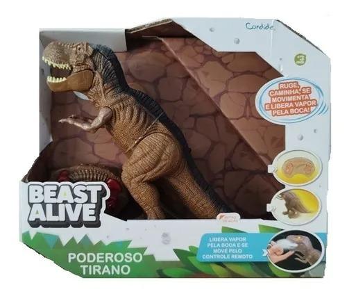 Dinossauro T-Rex Poderoso Tirano Controle Remoto -  26cm, Fumaça, Anda, Ruge - Candide