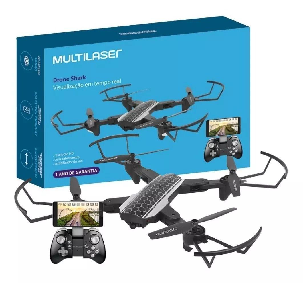 Drone Shark C/ Câmera Hd Fpv, Wi-fi, Pouso Automático E Controle C/ Suporte P/ Smartphone - Multilaser