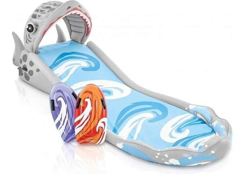 Escorregador Infantil Inflável Tubarão Com 2 Pranchas - Intex