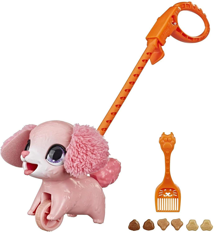 Furreal Poopalots Pequena - Faz Caquinha Cocô e Passeio - Cachorro Poodle Rosa  - Hasbro