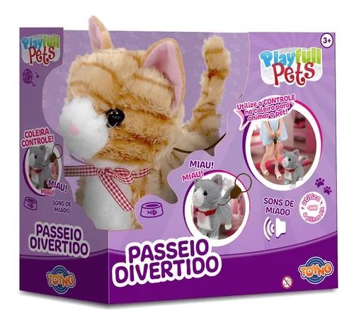 Gatinho Bege Play Full Pets Coleira Com Controle C/som e movimento - Anda e Miado - Toyng