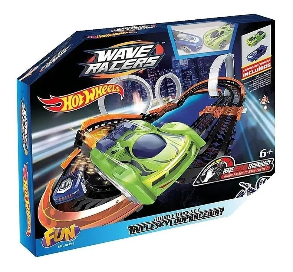 Hot Wheels Wave Racers Triple Skyloop - Pista E 2 Carrinhos – Fun