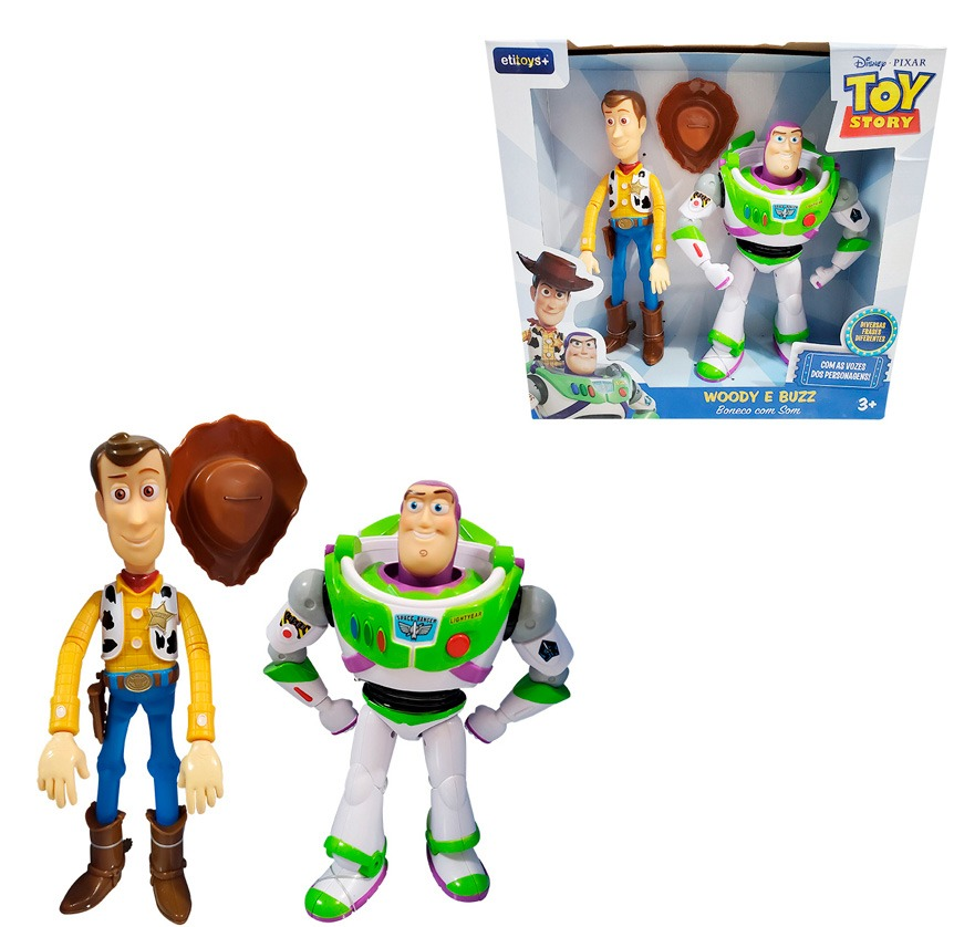 Kit Boneco Woody e Buzz Toy Story -Articulados Woody Fala 14 Frases Buzz 10 frases Portugues - Etitoys