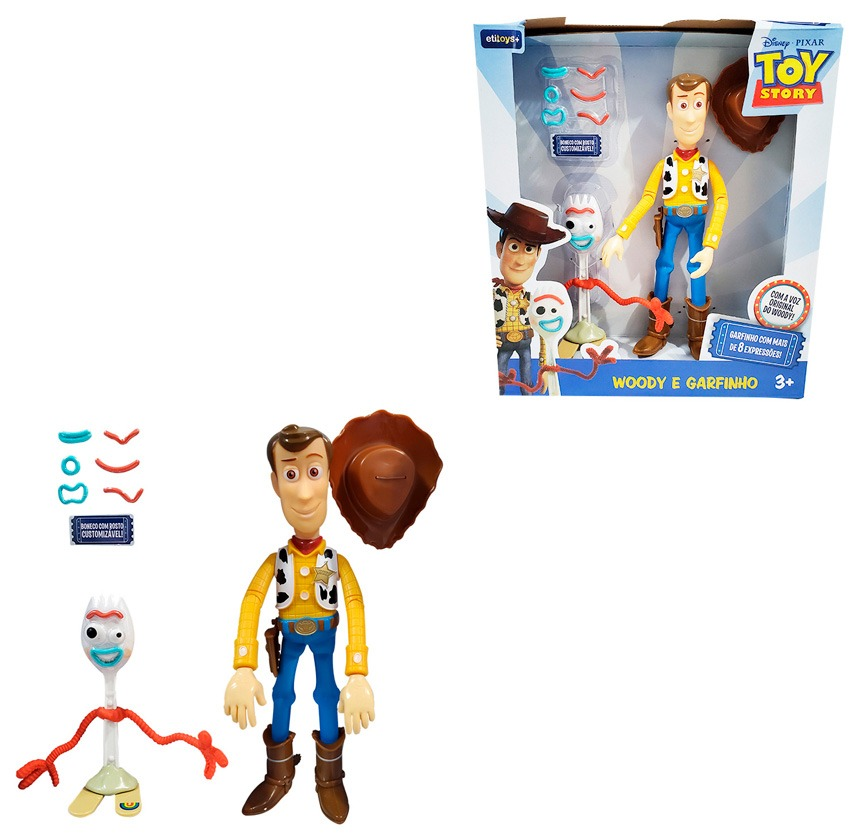 Kit Boneco Woody e Garfinho Toy Story - Woody Fala 14 Frases Portugues e Garfinho C/ Rosto Customizável- Etitoys