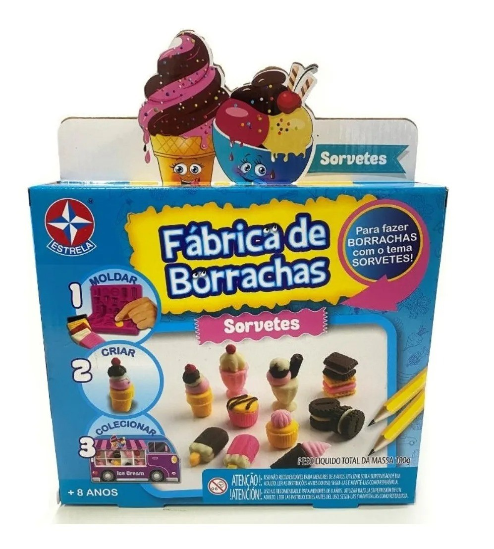 Kit Fabrica De Borrachas Sorvetes 100g – Moldar e Criar - Estrela