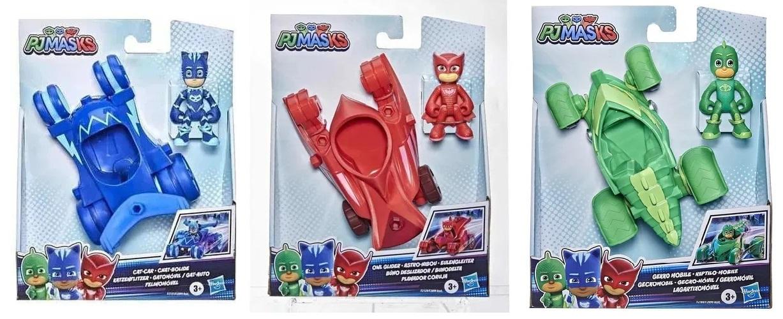 Kit Pj Masks 3 Veículos E 3 Bonecos - Menino Gato, Lagartixo e Corujita -  Hasbro