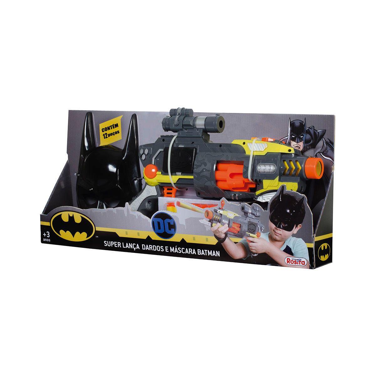 Kit Super Lançador Automático Tambor Giratorio E Máscara Batman - Rosita