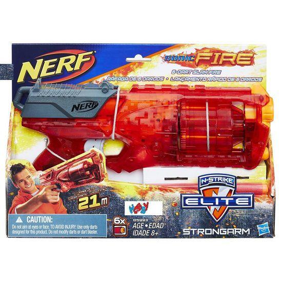 Lançador Nerf Strike Elite Strongarm Sonic Fire – tambor giratório e alcance de 21m - Hasbro