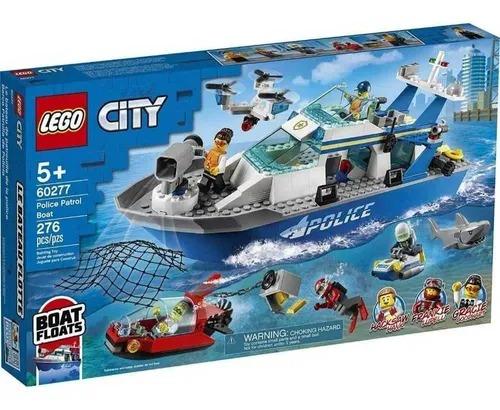 Lego  60277 City – Barco Flutuante Patrulha Da Polícia Marinha – 276 peças