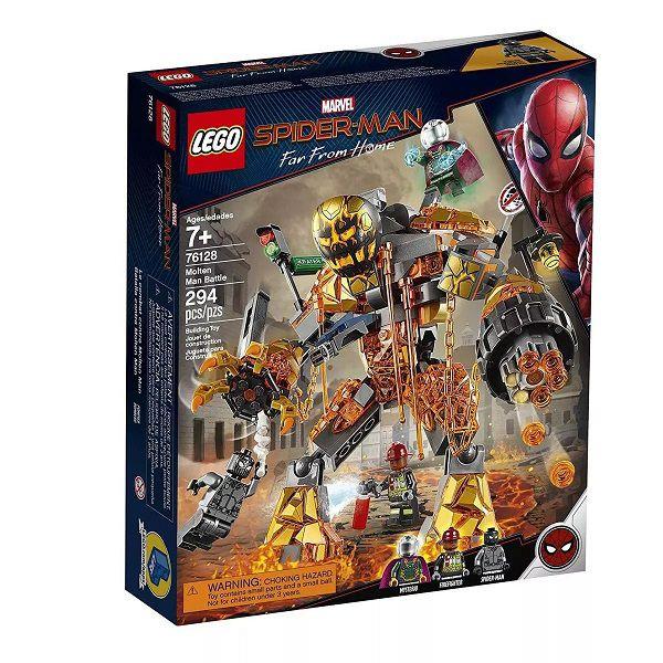 Lego 76128 Marvel Spider Man Longe de Casa- Combate Contra Mostro Fogo -294 peças