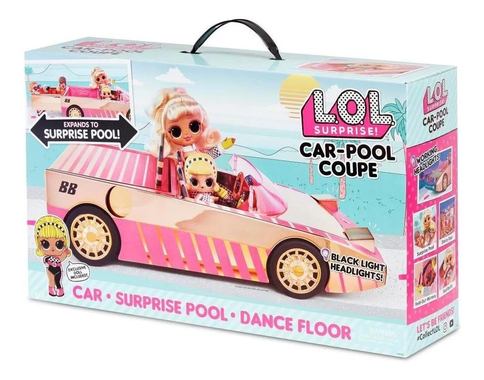 Lol Surprise Veiculo Car Pool Coupe C/ luz e Boneca LOL Exclusiva - Candide
