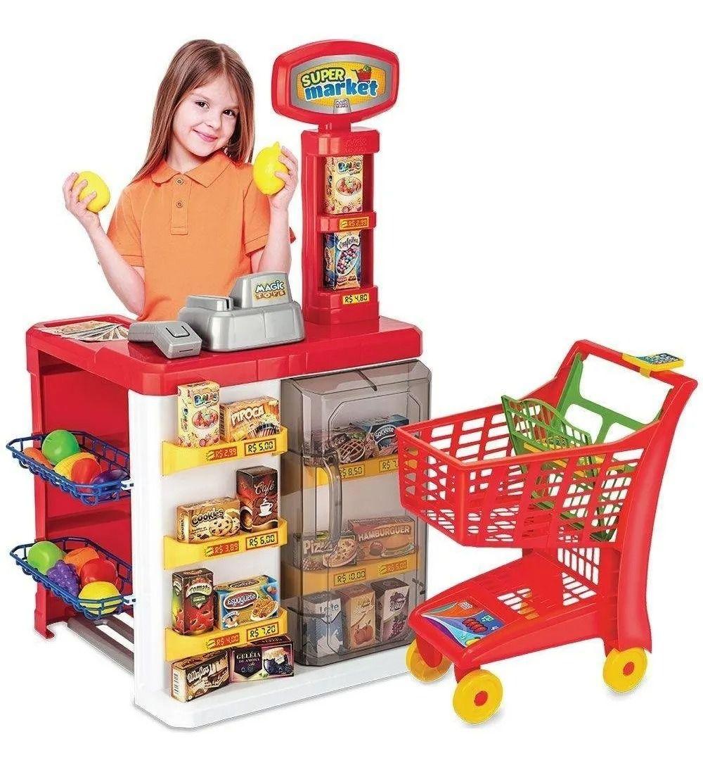 Mercadinho Infantil Super Market C/ Registradora, Leitor e Carrinho Compra – Magic Toys