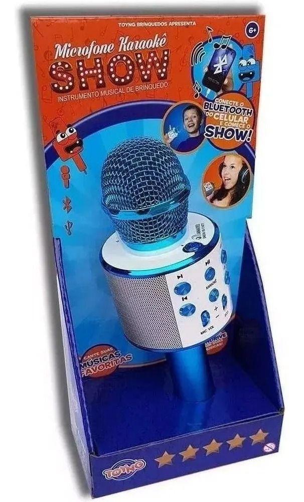 Microfone Infantil Karaokê Show Com Bluetooth Conecta A Pendrive Azul - Toyng
