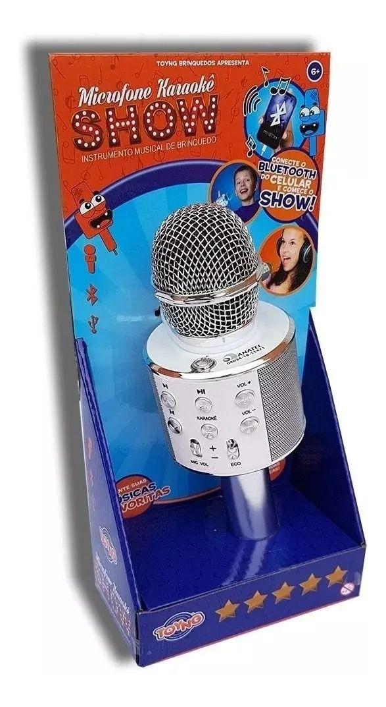 Microfone Infantil Karaokê Show Com Bluetooth Conecta A Pendrive Branco - Toyng