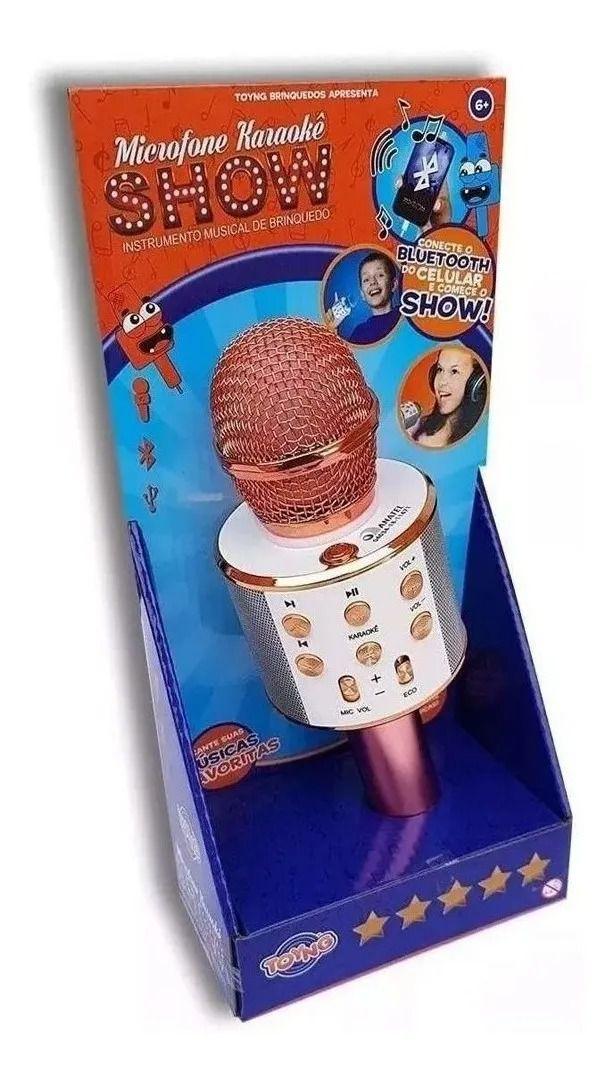 Microfone Infantil Karaokê Show Com Bluetooth Conecta A Pendrive Rosé - Toyng