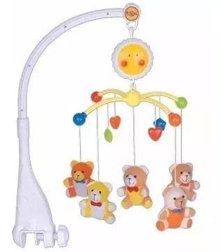 Móbile Musical Giratório Infantil Berço Bebê Urso Pelucia - Braskit