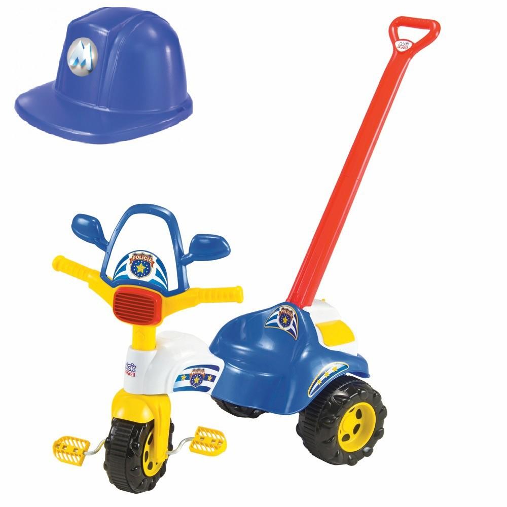 Motoca Triciclo Tico Tico Polícia C/ Haste e Capacete - Magic Toys
