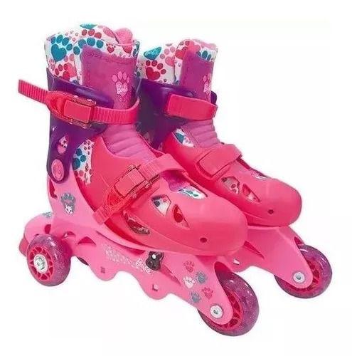 Patins Barbie Rosa Ajustável Do 29 A 32 C/ Kit De Segurança Capacete, Joelheiras e Cotoveleiras  - Fun