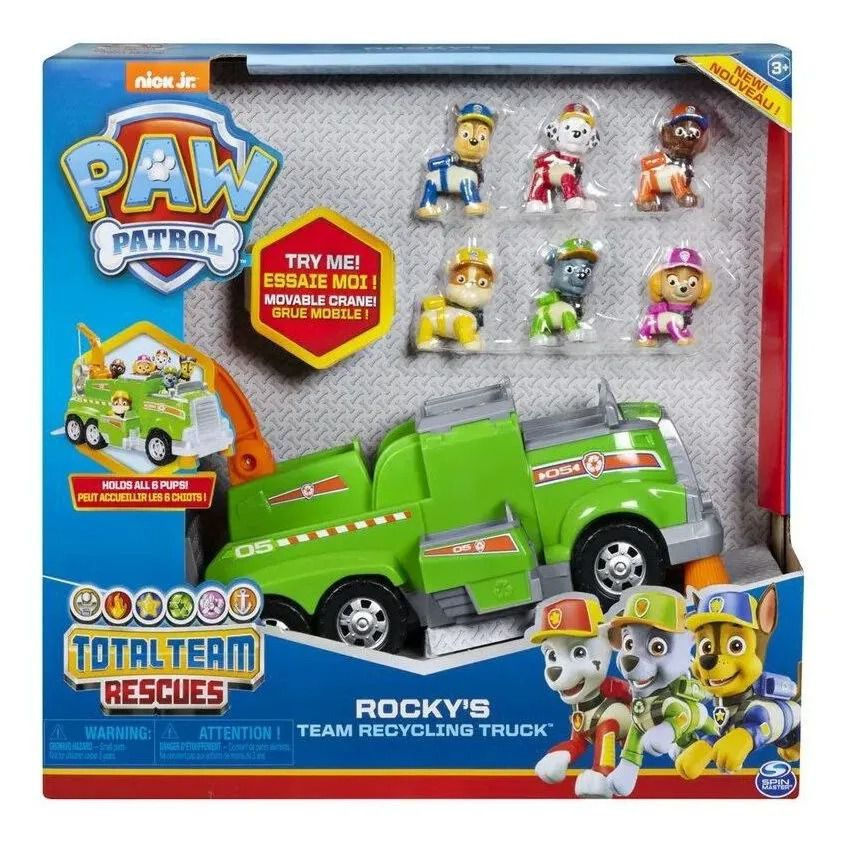 Patrulha Canina Total Team Rescues  Rocky Recycling – 1 Veiculo e 6 figuras – Sunny