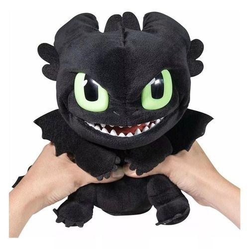 Pelúcia Como Treinar O Seu Dragão 3 - Banguela Luxo 30 cm C/ Som e Expressão Facial - Sunny