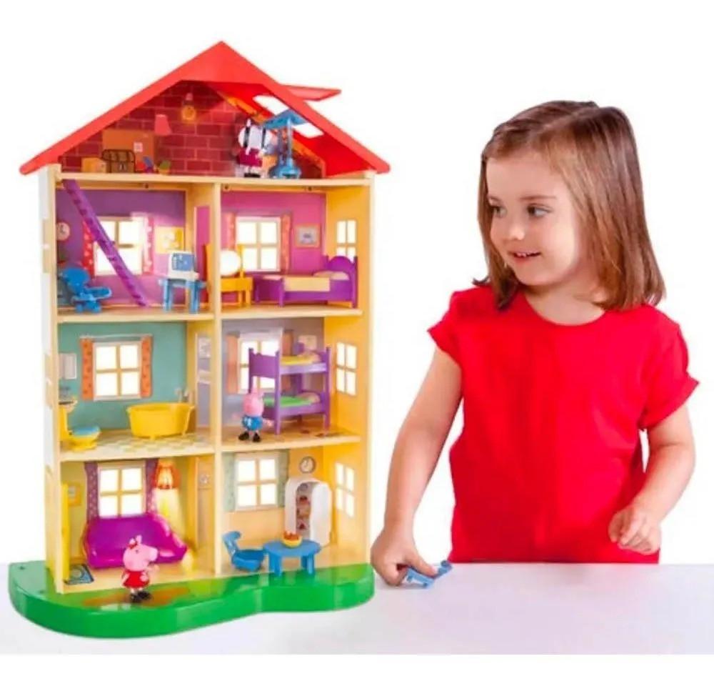 Peppa Pig Casa Gigante Família 55 cm 7 ambientes 2 bonecos e acessórios - Sunny