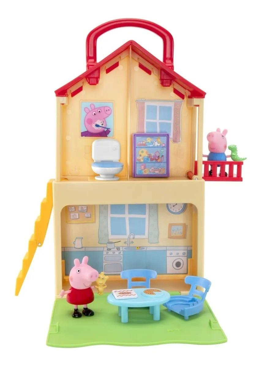 Peppa Pig Casa Maleta C/ Alça 28cm 2 andares 2 bonecos e Acessorios -  Sunny