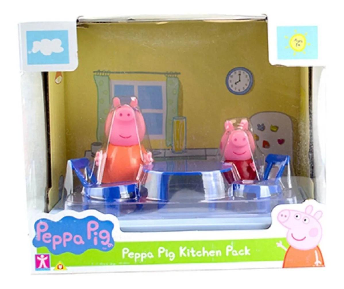 Peppa Pig Cenário Cozinha Com bonecos Mamãe Pig E Peppa  - Sunny