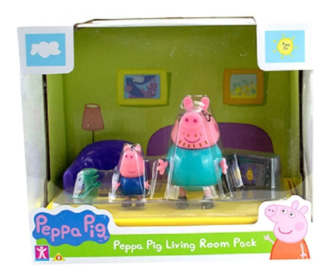 Peppa Pig Cenário Sala De Estar C/ bonecos Papai Pig E George - Sunny