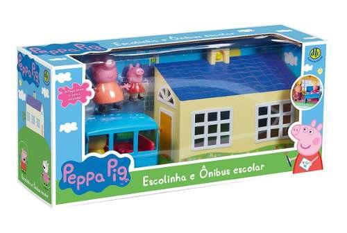 Peppa Pig Escolinha E Ônibus Escolar + 3 bonecos - Dtc