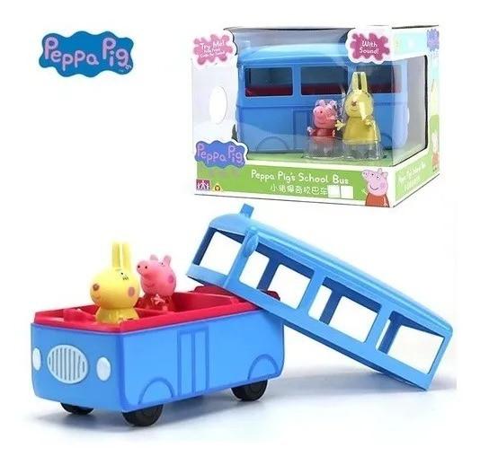 Peppa Pig Ônibus Escolar 5 lugares Com Som e 2 bonecos articulados - Sunny